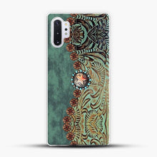 Load image into Gallery viewer, Rustic Brown Cowhide Teal Western Country Tooled Leather Cowboy Teel Green Samsung Galaxy Note 10 Plus Case, White Plastic Case | JoeYellow.com