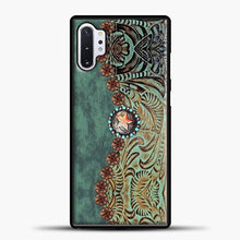 Load image into Gallery viewer, Rustic Brown Cowhide Teal Western Country Tooled Leather Cowboy Teel Green Samsung Galaxy Note 10 Plus Case, Black Rubber Case | JoeYellow.com