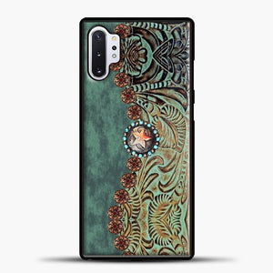 Rustic Brown Cowhide Teal Western Country Tooled Leather Cowboy Teel Green Samsung Galaxy Note 10 Plus Case, Black Rubber Case | JoeYellow.com