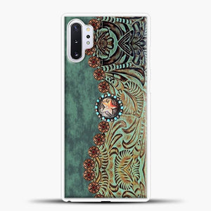 Rustic Brown Cowhide Teal Western Country Tooled Leather Cowboy Teel Green Samsung Galaxy Note 10 Plus Case, White Rubber Case | JoeYellow.com