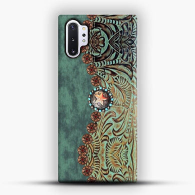 Rustic Brown Cowhide Teal Western Country Tooled Leather Cowboy Teel Green Samsung Galaxy Note 10 Plus Case, Snap 3D Case | JoeYellow.com