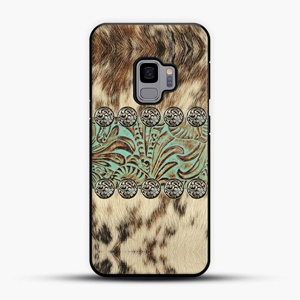Rustic Brown Cowhide Teal Western Country Tooled Leather Fur Animal Samsung Galaxy S9 Case, Black Plastic Case | JoeYellow.com
