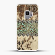 Load image into Gallery viewer, Rustic Brown Cowhide Teal Western Country Tooled Leather Fur Animal Samsung Galaxy S9 Case, White Plastic Case | JoeYellow.com