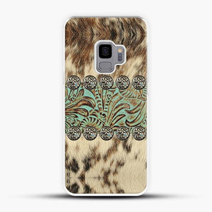 Rustic Brown Cowhide Teal Western Country Tooled Leather Fur Animal Samsung Galaxy S9 Case, White Plastic Case | JoeYellow.com