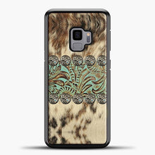Load image into Gallery viewer, Rustic Brown Cowhide Teal Western Country Tooled Leather Fur Animal Samsung Galaxy S9 Case, Black Rubber Case | JoeYellow.com