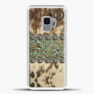 Rustic Brown Cowhide Teal Western Country Tooled Leather Fur Animal Samsung Galaxy S9 Case, White Rubber Case | JoeYellow.com
