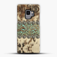 Load image into Gallery viewer, Rustic Brown Cowhide Teal Western Country Tooled Leather Fur Animal Samsung Galaxy S9 Case, Snap 3D Case | JoeYellow.com