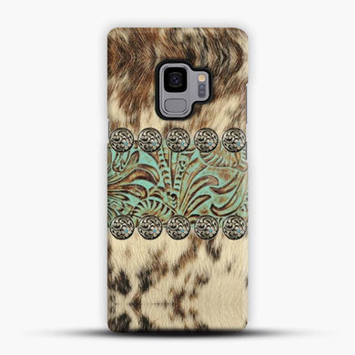 Rustic Brown Cowhide Teal Western Country Tooled Leather Fur Animal Samsung Galaxy S9 Case, Snap 3D Case | JoeYellow.com