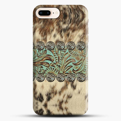 Rustic Brown Cowhide Teal Western Country Tooled Leather Fur Animal iPhone 8 Plus Case, Snap 3D Case | JoeYellow.com