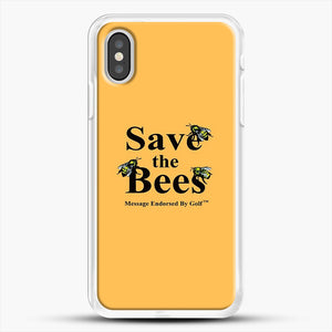 Save The Bees Golf iPhone XS Case, White Rubber Case | JoeYellow.com