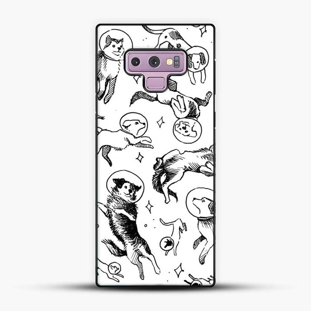 Space Dogs Sketch Image Samsung Galaxy Note 9 Case, Black Plastic Case | JoeYellow.com