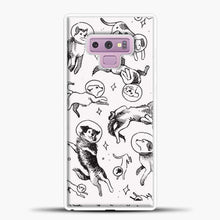 Load image into Gallery viewer, Space Dogs Sketch Image Samsung Galaxy Note 9 Case, White Rubber Case | JoeYellow.com