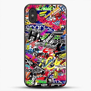 Sticker Bomb Colorful iPhone XS Max Case, Black Plastic Case | JoeYellow.com