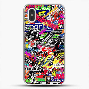 Sticker Bomb Colorful iPhone XS Max Case, White Plastic Case | JoeYellow.com