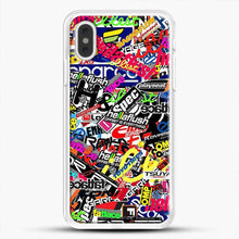 Load image into Gallery viewer, Sticker Bomb Colorful iPhone XS Max Case, White Rubber Case | JoeYellow.com