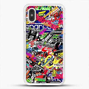 Sticker Bomb Colorful iPhone XS Max Case, White Rubber Case | JoeYellow.com