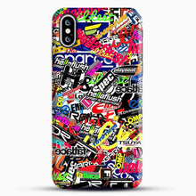 Load image into Gallery viewer, Sticker Bomb Colorful iPhone XS Max Case, Black Snap 3D Case | JoeYellow.com