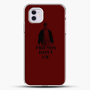 Stranger Things Eleven Red Backgrond iPhone 11 Case, White Plastic Case | JoeYellow.com