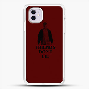 Stranger Things Eleven Red Backgrond iPhone 11 Case, White Rubber Case | JoeYellow.com
