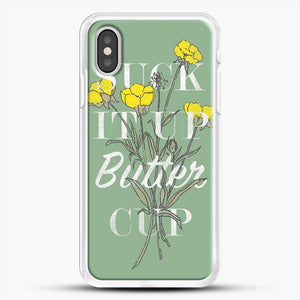 Suck It Up Buttercup iPhone XS Case, White Rubber Case | JoeYellow.com