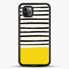 Load image into Gallery viewer, Sunshine X Stripes iPhone 11 Pro Max Case, Black Rubber Case | JoeYellow.com