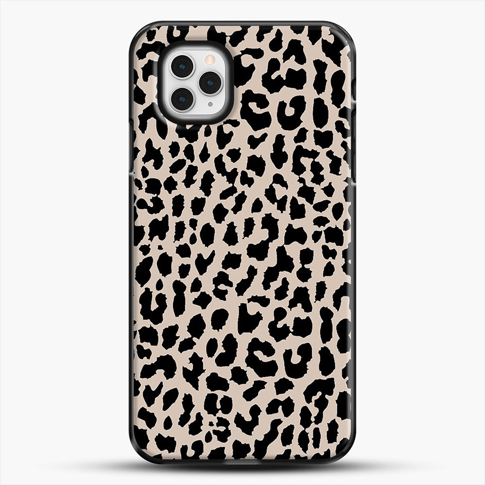Tan Leopard iPhone 11 Pro Case, Black Plastic Case | JoeYellow.com