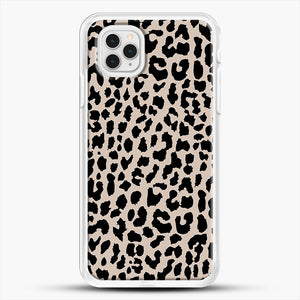 Tan Leopard iPhone 11 Pro Case, White Rubber Case | JoeYellow.com