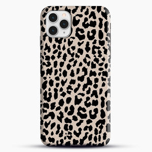 Tan Leopard iPhone 11 Pro Case, Black Snap 3D Case | JoeYellow.com