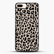 Load image into Gallery viewer, Tan Leopard iPhone 8 Plus Case, Black Plastic Case | JoeYellow.com