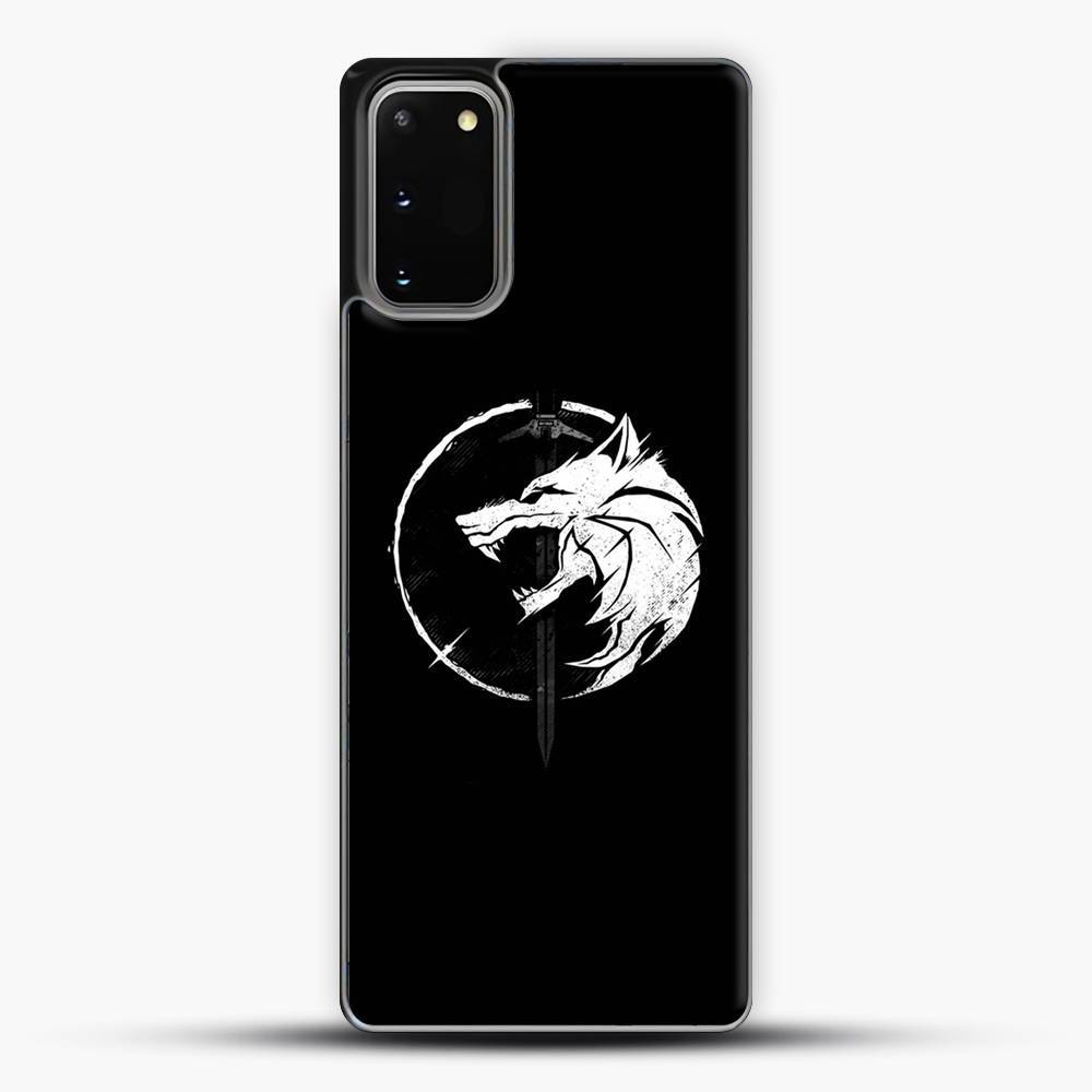 The Witcher Symbol From Netflix Series White Wolf Samsung Galaxy S20 Case, Black Plastic Case | JoeYellow.com