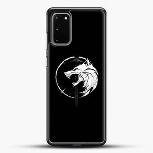 The Witcher Symbol From Netflix Series White Wolf Samsung Galaxy S20 Case, Black Rubber Case | JoeYellow.com