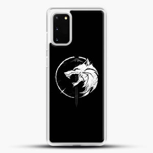 The Witcher Symbol From Netflix Series White Wolf Samsung Galaxy S20 Case, White Rubber Case | JoeYellow.com