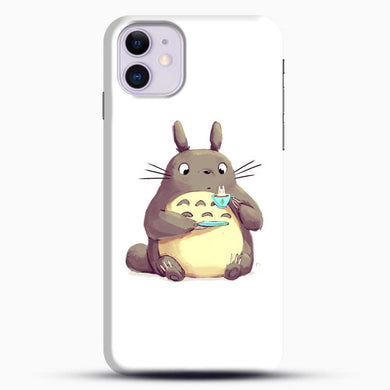 Totoro Drinking iPhone 11 Case, Black Snap 3D Case | JoeYellow.com