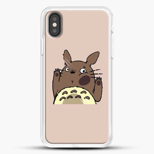 Totoro Pink Background iPhone X Case, White Rubber Case | JoeYellow.com