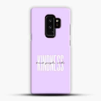 Treat People With Kindness Purple Background Samsung Galaxy S9 Plus Case, Black Snap 3D Case | JoeYellow.com