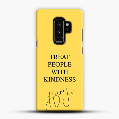Treat People With Kindness Yellow Background Samsung Galaxy S9 Plus Case, Black Snap 3D Case | JoeYellow.com