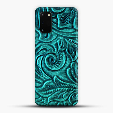 TurquoiSE EmbosSEd Tooled Leather Floral Scrollwork Design Samsung Galaxy S20 Case, Snap 3D Case | JoeYellow.com