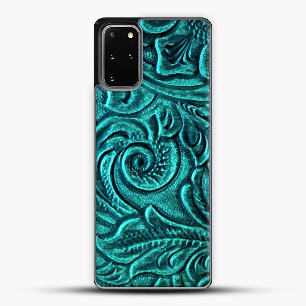 TurquoiSE EmbosSEd Tooled Leather Floral Scrollwork Design Samsung Galaxy S20 Plus Case, Black Plastic Case | JoeYellow.com