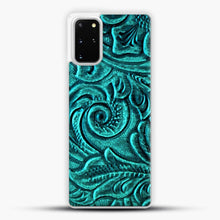 Load image into Gallery viewer, TurquoiSE EmbosSEd Tooled Leather Floral Scrollwork Design Samsung Galaxy S20 Plus Case, White Plastic Case | JoeYellow.com