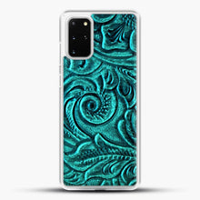 Load image into Gallery viewer, TurquoiSE EmbosSEd Tooled Leather Floral Scrollwork Design Samsung Galaxy S20 Plus Case, White Rubber Case | JoeYellow.com