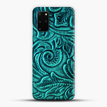 Load image into Gallery viewer, TurquoiSE EmbosSEd Tooled Leather Floral Scrollwork Design Samsung Galaxy S20 Plus Case, Snap 3D Case | JoeYellow.com