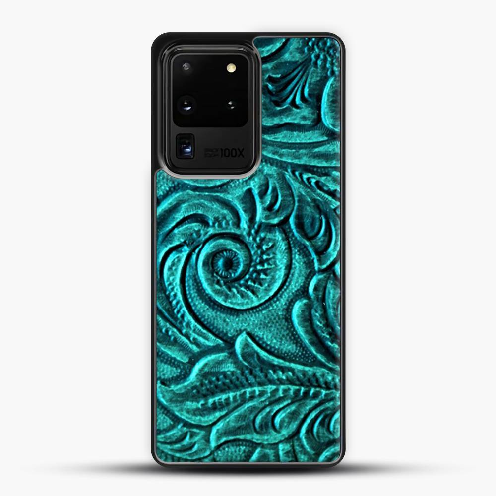 TurquoiSE EmbosSEd Tooled Leather Floral Scrollwork Design Samsung Galaxy S20 Ultra Case, Black Plastic Case | JoeYellow.com