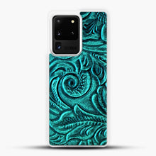 Load image into Gallery viewer, TurquoiSE EmbosSEd Tooled Leather Floral Scrollwork Design Samsung Galaxy S20 Ultra Case, White Plastic Case | JoeYellow.com
