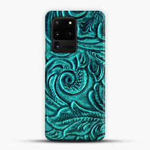 Load image into Gallery viewer, TurquoiSE EmbosSEd Tooled Leather Floral Scrollwork Design Samsung Galaxy S20 Ultra Case, Snap 3D Case | JoeYellow.com