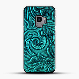 Turquoise Embossed Tooled Leather Floral Scrollwork Design Samsung Galaxy S9 Case
