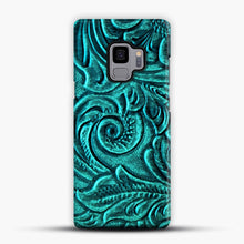 Load image into Gallery viewer, Turquoise Embossed Tooled Leather Floral Scrollwork Design Samsung Galaxy S9 Case