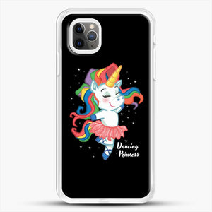 Unicorn Girl Ballet Dancing iPhone 11 Pro Max Case, White Rubber Case | JoeYellow.com