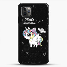 Load image into Gallery viewer, Unicorn Girl Beautiful Stary Pattern iPhone 11 Pro Max Case, Black Plastic Case | JoeYellow.com