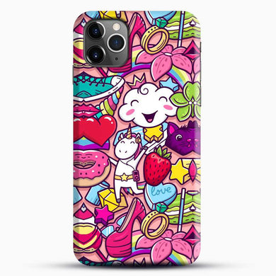 Unicorn Girl Collage iPhone 11 Pro Max Case, Black Snap 3D Case | JoeYellow.com