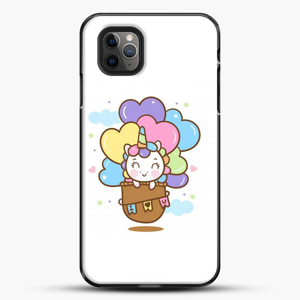 Unicorn Girl Cute On Hot Air Ballon iPhone 11 Pro Max Case, Black Plastic Case | JoeYellow.com